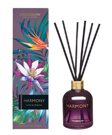 Ароматизатор - дифузер с дървени пръчици HARMONY - Vetiver & Citrus Tea в цветно стъкло и опаковка за подарък.  Цветен парфюмен аромат, подходящ подарък за жена.