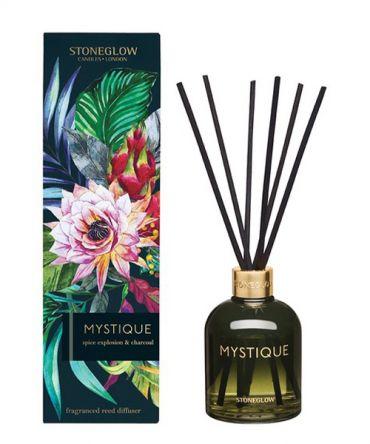 Ароматизатор - дифузер с дървени пръчици Mystique Spice Expolsion & Charcoal в цветно стъкло и опаковка за подарък.  Пикантен дървесен аромат, подходящ подарък за мъж.