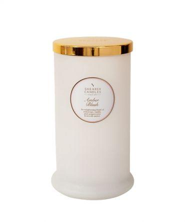 Висока ароматна свещ Amber Blush - парфюмен дамски флорален аромат, подарък за жена
