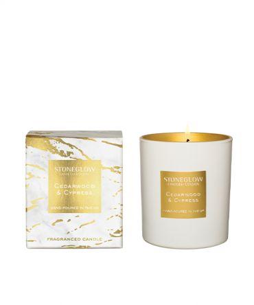 Луксозна Ароматна свещ Cedarwood & Cypress с дървесен аромат и бавно и бавно изгаряне, романтичен подарък за жена