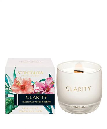Ароматна свещ с дървен фитил в кутия за подарък с аромат на шафрани кашмирено дърво