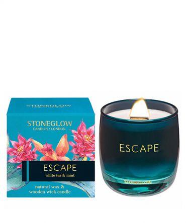 Луксозна ароматна свещ с дървен фитил в кутия за подарък с аромат на бял чай и мента