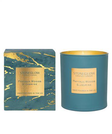 Луксозна Ароматна свещ Papyrus Woods & Jasmine с дървесен и флорален, подходяща за подарък