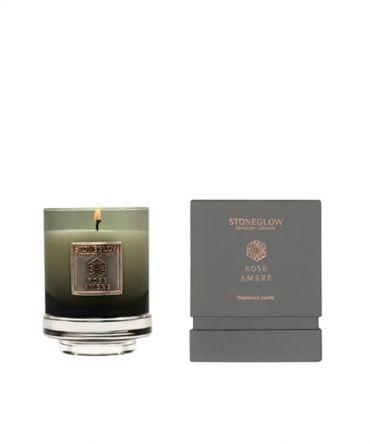 Луксозна ароматна свещ с аромат на амбър и роза в чаша от цветно стъкло и кутия за подарък.