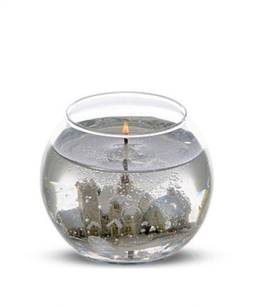 Декоративна гел свещ в кръгла форма, със зимна сцена във вътрешността