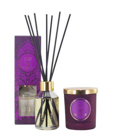 Комплект за подарък Ароматна свещ и Ароматизатор - дифузер с клечици и ароматни масла, подходящ подарък за жена