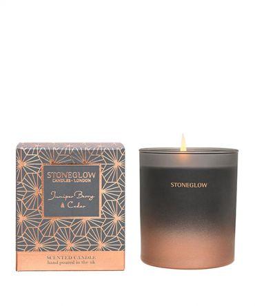 Празнична Коледна ароматна свещ с аромат на кедър, сандалово дърво, пачули, хвойна, пикантен черен пипер и индийско орехче. Романтичен подарък за Коледа. Цвят - сив, rose gold