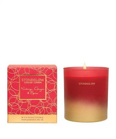 Празнична Коледна ароматна свещ с аромат на индийско орехче, джинджифил, кедрово и сандалово дърво. Романтичен подарък за Коледа.
