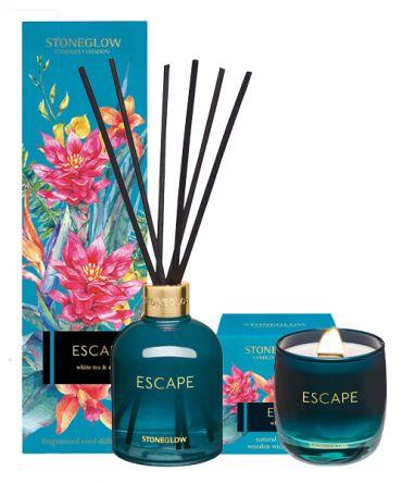 Комплект за подарък луксозна ароматна свещ  с дървен фитил и дифузер с пръчици и етерични масла. Подарък за жена, рожден ден, имен ден, сватба, нов дом.