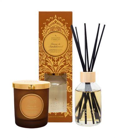 Комплект за подарък ароматна свещ и дифузер Какао и Сандалово дърво