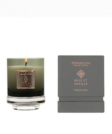 Луксозна ароматна свещ в чаша от опушено цветно стъкло и кутия за подарък. Сложен, завладяващ аромат на жасмин, портокалов цвят, ванилия, сандалово дърво, пачули.