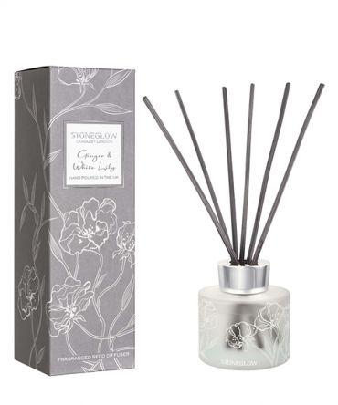 Ароматизатор дифузер с дървени пръчици с аромат на джинджифил и бяла лилия. Подходящ подарък за жена.
