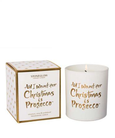 Ароматна коледна свещ All I Want for Christmas is ... Prosecco - канела, карамфил, портокал, сандалово дърво