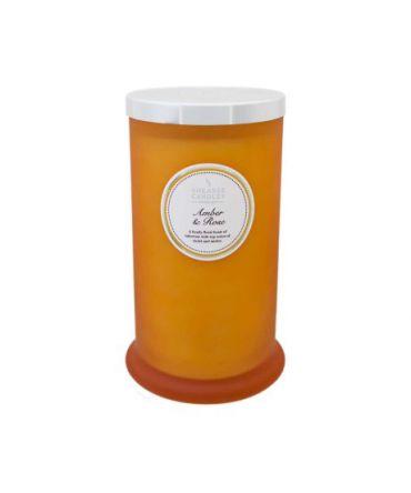 Висока ароматна свещ в цветна стъклена чаша Amber & Rose