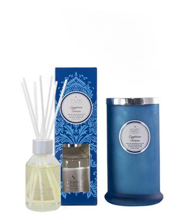 Комплект за подарък Ароматна свещ и Ароматизатор - дифузер с клечици и ароматни масла със свеж аромат, подходящ подарък за жена