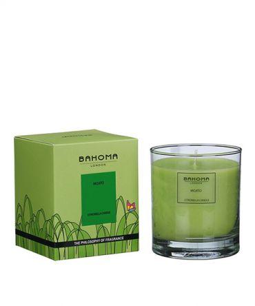 Градинска декоративна свещв стъклена чаша и кутия за подарък, с аромат на Цитронела, Евкалипт и Грейпфрут, естествен репелент против комари и други насекоми.